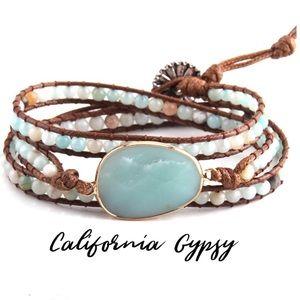 Bohemian gypsy amazonite quartz bracelet
